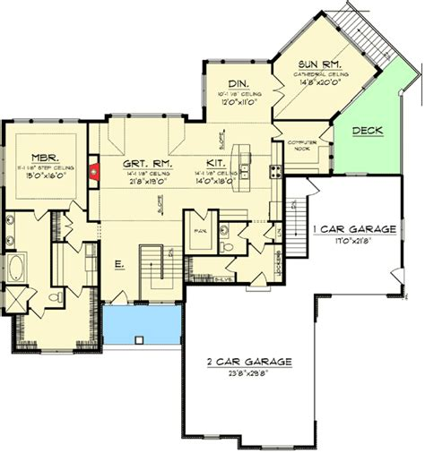 ranch home floor plans with walkout basement craftsman ranch with walkout basement 89899ah 1st