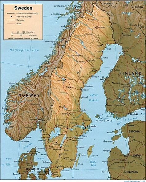 physical map of sweden sweden maps perry casta 241 eda map collection ut library
