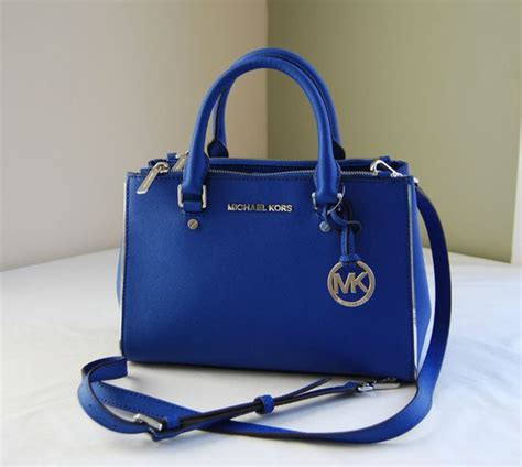 Michael Kors Sutton Medium Electric Blue And Navy michael kors electric blue specchio saffiano leather sutton small dressy tote satchels