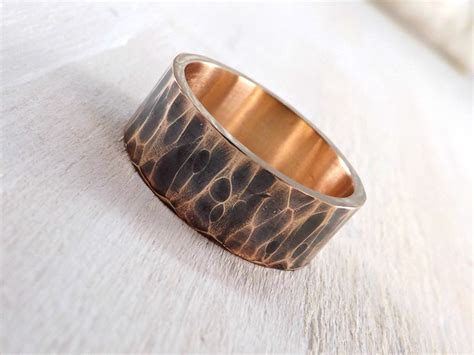 s ring bronze hammered bronze ring cool mens ring