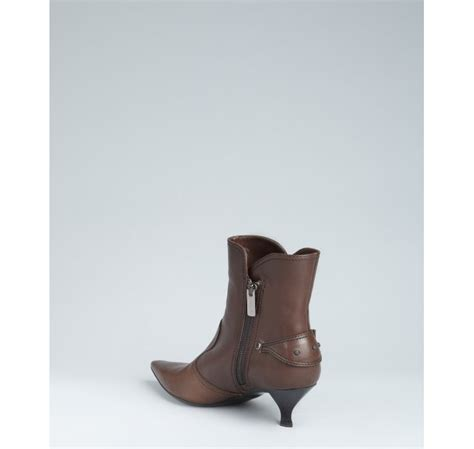 tod s coffee leather kitten heel ankle boots in brown lyst
