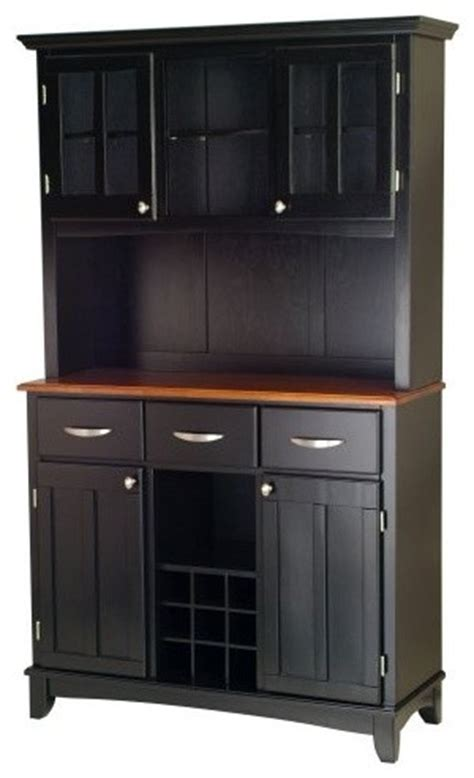 home styles large wood bakers rack with two door hutch
