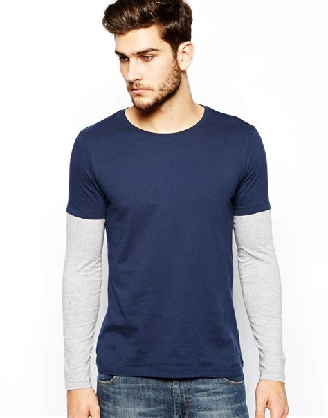 Sleeve Layered Shirt lyst asos sleeve tshirt with layer in blue
