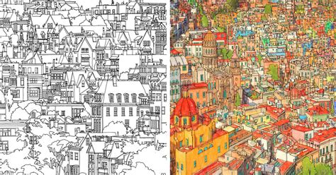 highly detailed coloring book adults features famous cities bored panda