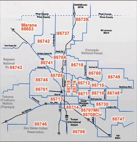 printable zip code map of tucson az tucson real estate by zip