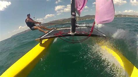 catamaran flying a hull hobie cat 16 barcelona flying hull youtube