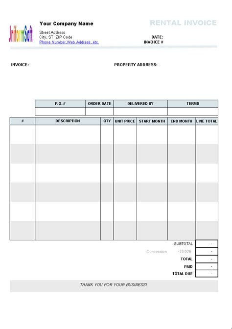 monthly rent invoice template freeware sle hotel bill format in word