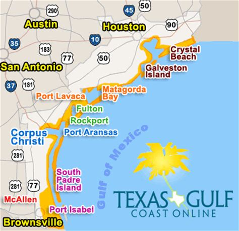 beaches in texas map texas gulf coast cities