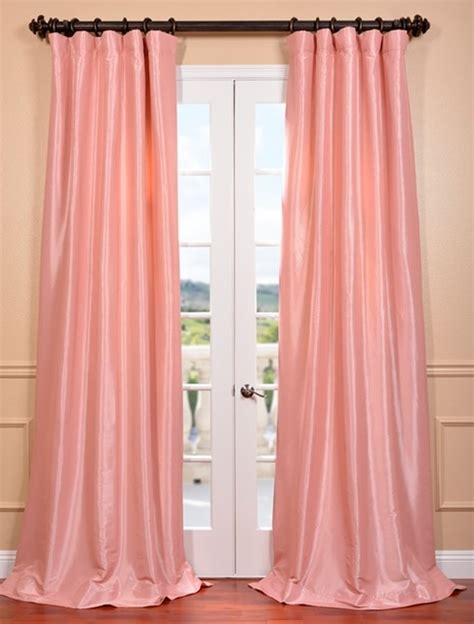 pink silk curtains flamingo pink faux silk taffeta curtain contemporary