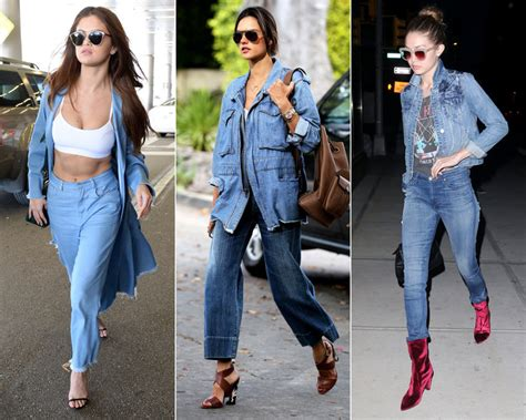 hairstyles for party on jeans top celebrities in double denim canadian tuxedo instyle com