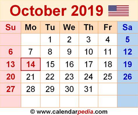 Calendar 2019 October October 2019 Calendars For Word Excel Pdf