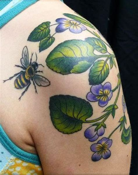 pansy flower tattoo pansy and bee motives