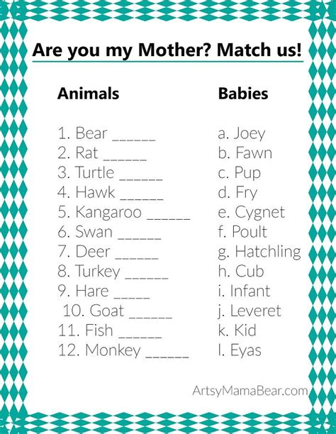 baby shower games templates free download animal matching baby shower game free printable