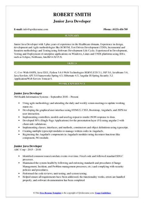 Junior Java Developer Resume