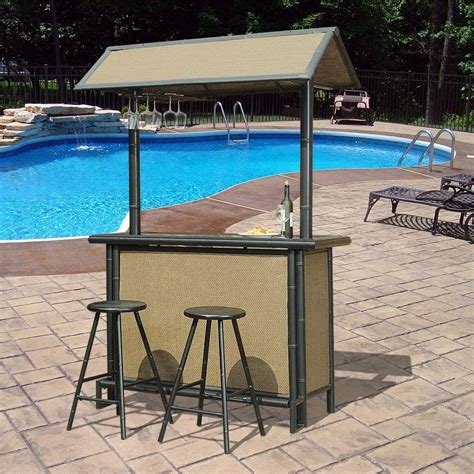 woodard lancaster 3 aluminum wood look patio bar set