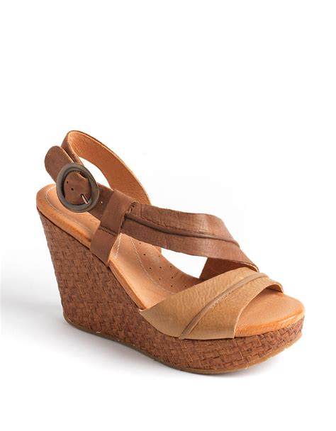 naya estra leather platform wedge sandals in brown lyst