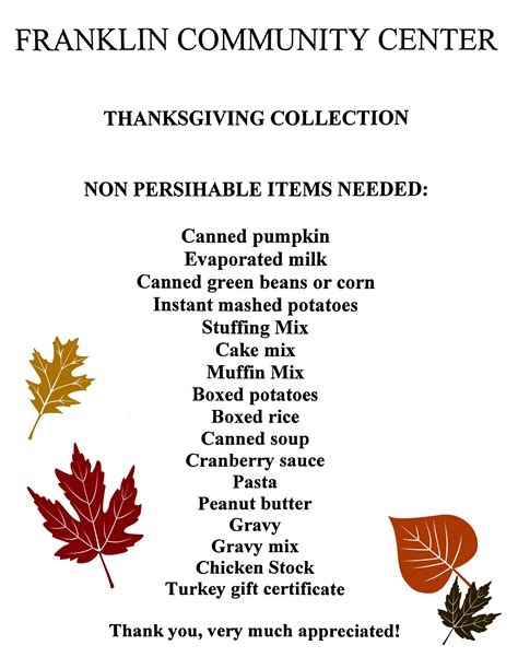 food drive for thanksgiving items roohan realty
