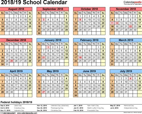 School Calendars 2018 2019 As Free Printable Word Templates 2018 2019 Calendar Template