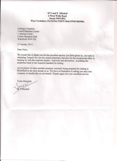 Real Estate Tenant Reference Letter landlord services in wakefield nottingham letting complete