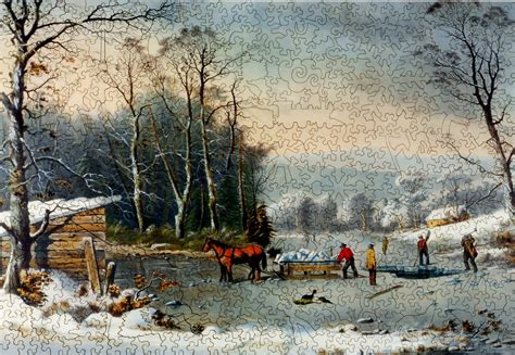 winter   country gathering ice wooden jigsaw