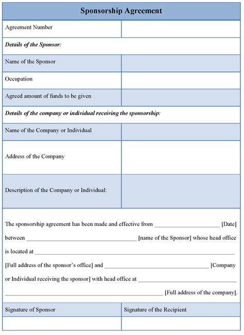 sponsor agreement template agreement template for sponsorship exle of sponsorship