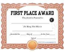 1st place certificate template free free printable 1st place award certificate templates