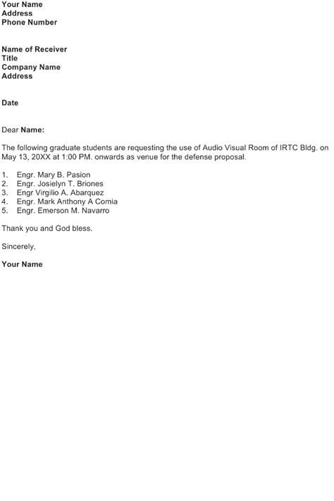 request letter to book a venue request letter sle page 3 of 5 sle business