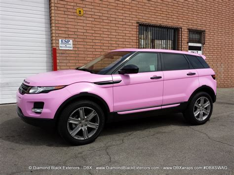 range rover pink and black range rover evoque wrapped in satin bubble gum pink avery
