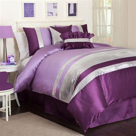 purple and silver bedroom designs jewel purple and silver comforter set by triangle home