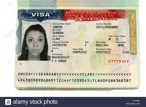 the wonder worker number 0751535702 usa work visa in a passport all name and numerical details altered stock photo 73671227 alamy