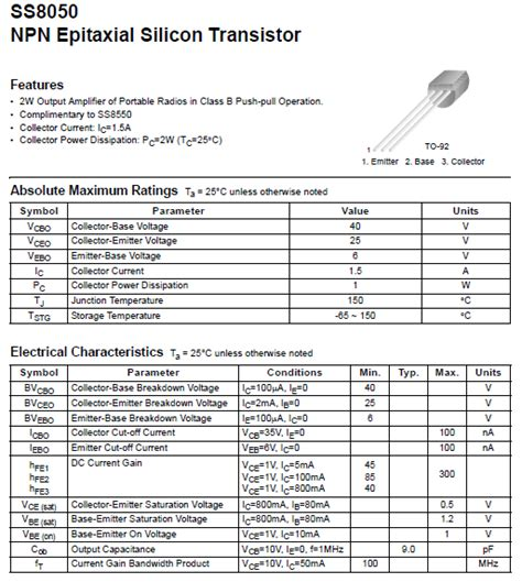 ss8050 npn epitaxial silicon transistor self sufficiency