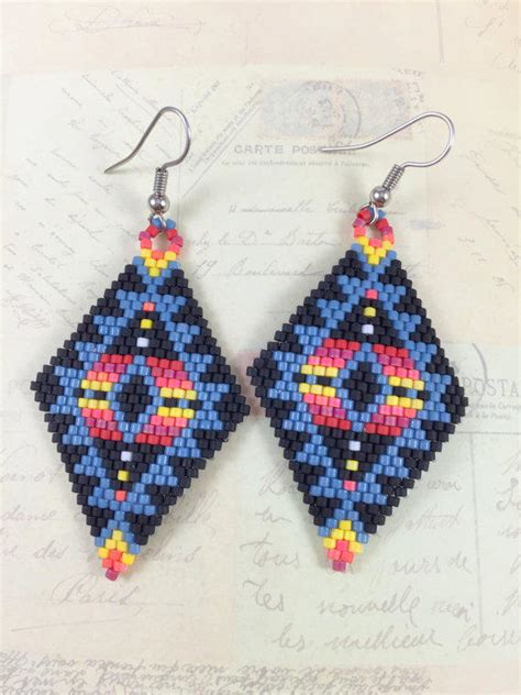 tribal pattern earrings tribal miyuki bead earrings brick stitch from gfmode on etsy