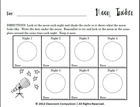 Moon Phases Worksheet by Phases Of The Moon Worksheets For Calendar Template