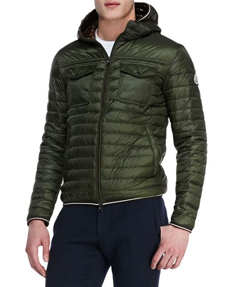 light puffer jacket with hood lyst moncler light weight hooded puffer jacket olive in