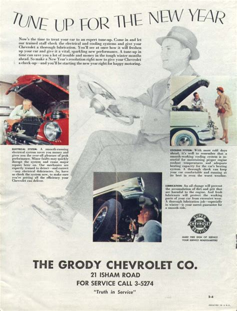 tune talk new year advertisement chevrolet tune up for the new year grody ad 1955 ebay