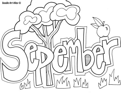 Coloring Pages For September months of the year coloring pages classroom doodles