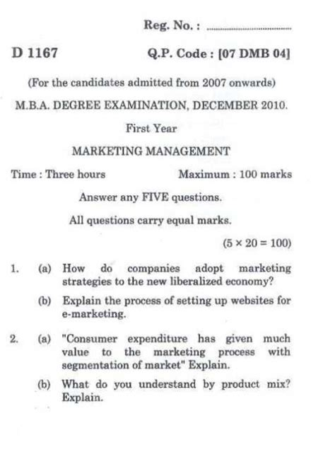 Bharathiar Mba Question Papers Marketing Management by Bharathiar Mba 1st Year Marketing Management