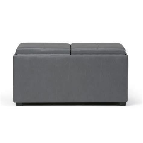 simpli home avalon 5 storage ottoman simpli home avalon grey 5 storage ottoman ay f