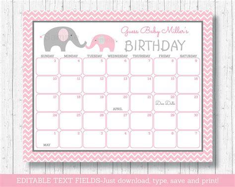 16x20 baby due date calendar pink and gold baby by ohbabyshower