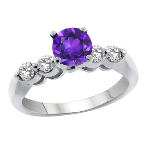 1 0 purple amethyst white 14k white gold