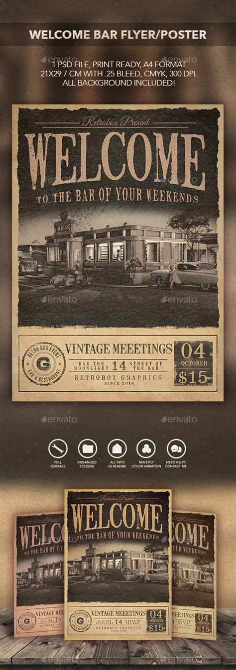 Welcome Bar Flyer Poster By Retrobox Graphicriver Welcome Flyer Template