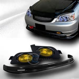 jdm blk mu front bumper lip kit abs fog lights l yellow