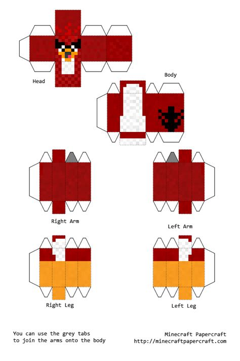 Minecraft Papercraft Cutouts - the bird minecraft cutout angry birds papercraft