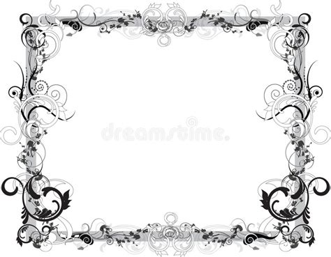 cornici illustrator flower black and white frame stock vector illustration
