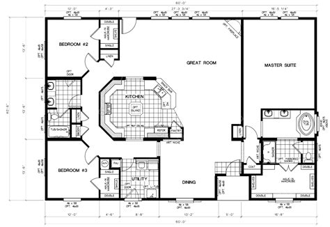 one story floor plans open concept 4 bedroom 3 bath