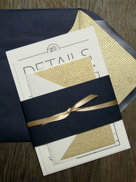 Wedding Invitations Navy And Gold by Navy Gold Chevron And Arrow Wedding Invitations