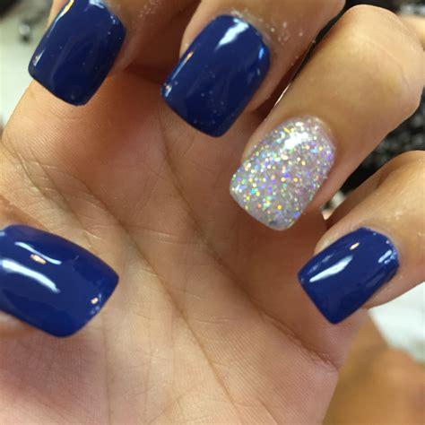Royal Nails by Royal Blue Acrylic Nails With Silver Hair Makeup And