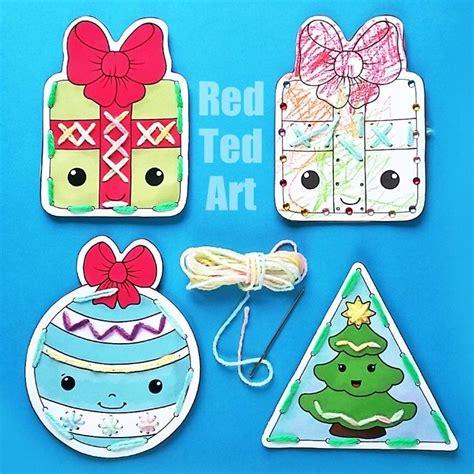 printable christmas lacing cards printable christmas lacing cards red ted art s blog