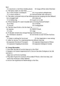 Life of Pi Movie Worksheet / Guided Discussion Questions
