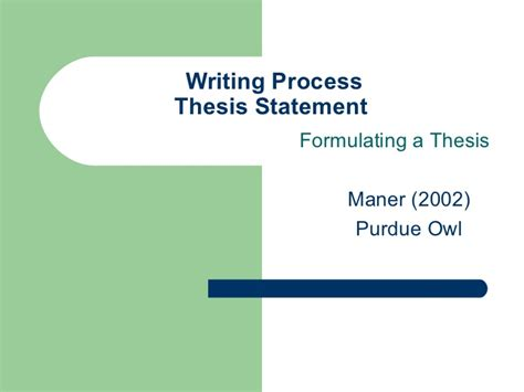 formulating a thesis 1 thesis 2011